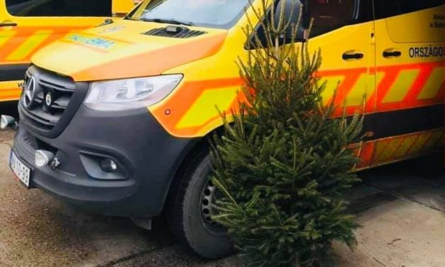 Karácsonyfát kaptak ajándékba a szentesi mentősök