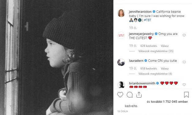Jennifer Aniston gyerekkori képet posztolt, felrobbant az Insta