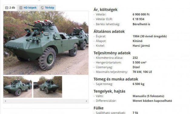 Most bárki megveheti ezt a magyar páncélost, aki esetleg világvégére készül